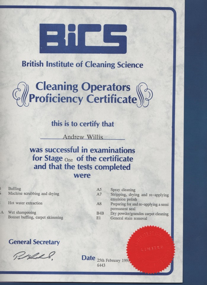 Bics Cleaning Operators Proficiency Certificate Stage 1
