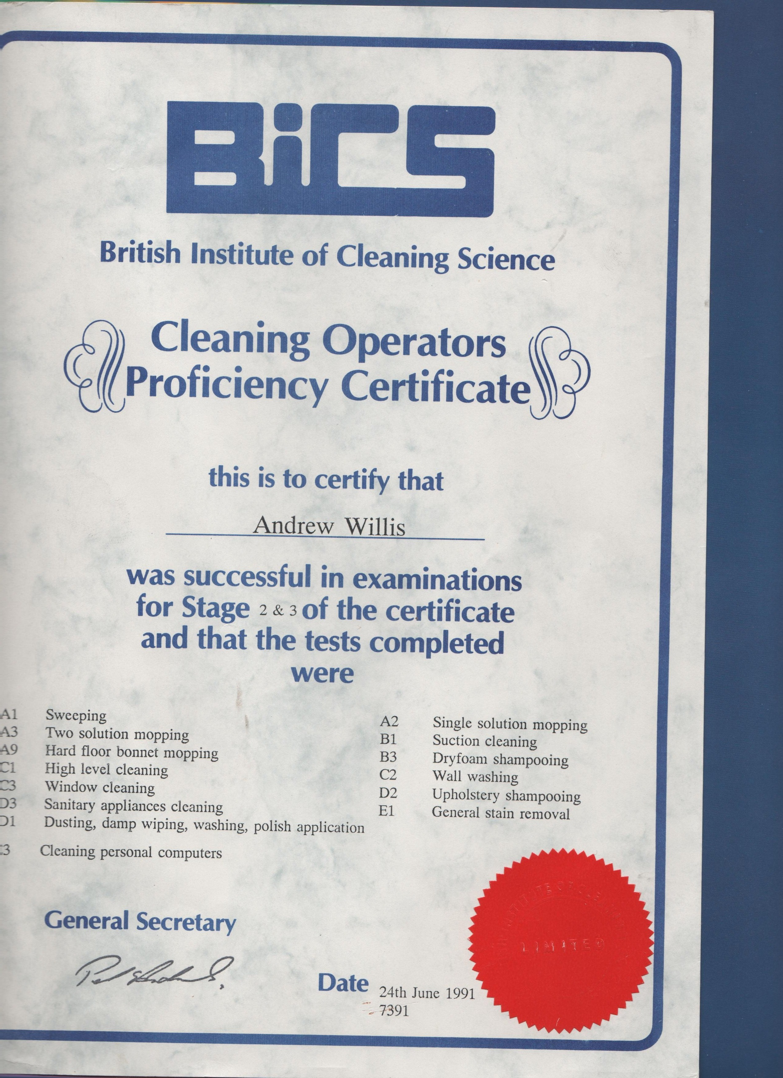 Bics Cleaning Operators Proficiency Certificate Stage 2 Amp 3