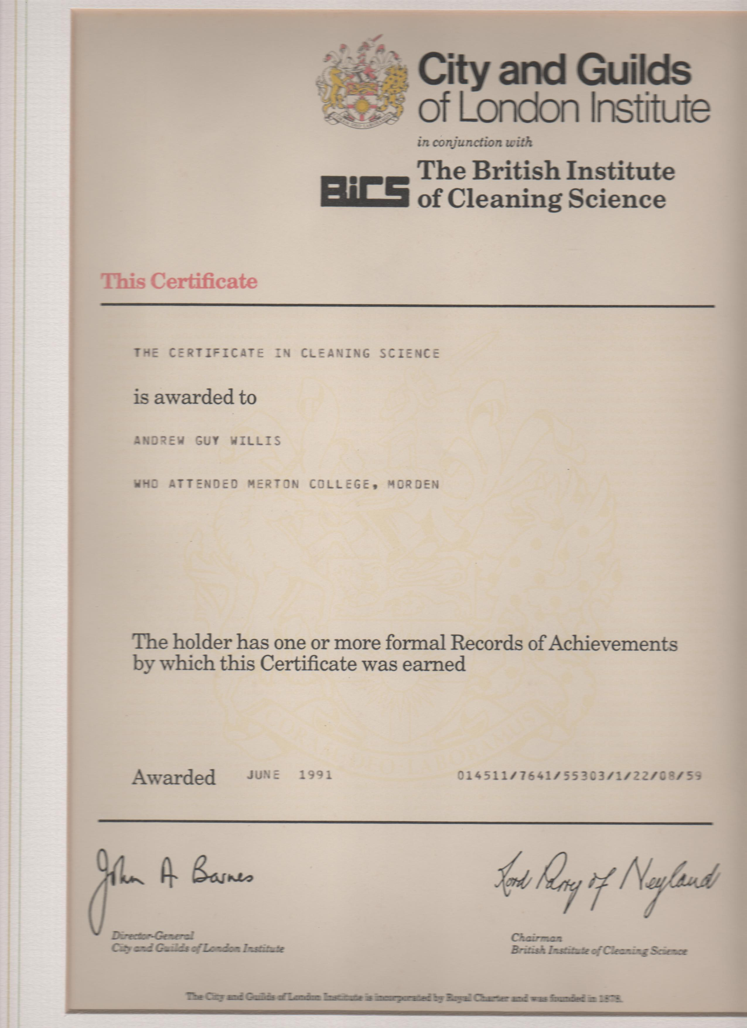 guilds willis 1991 certificates cleaning science