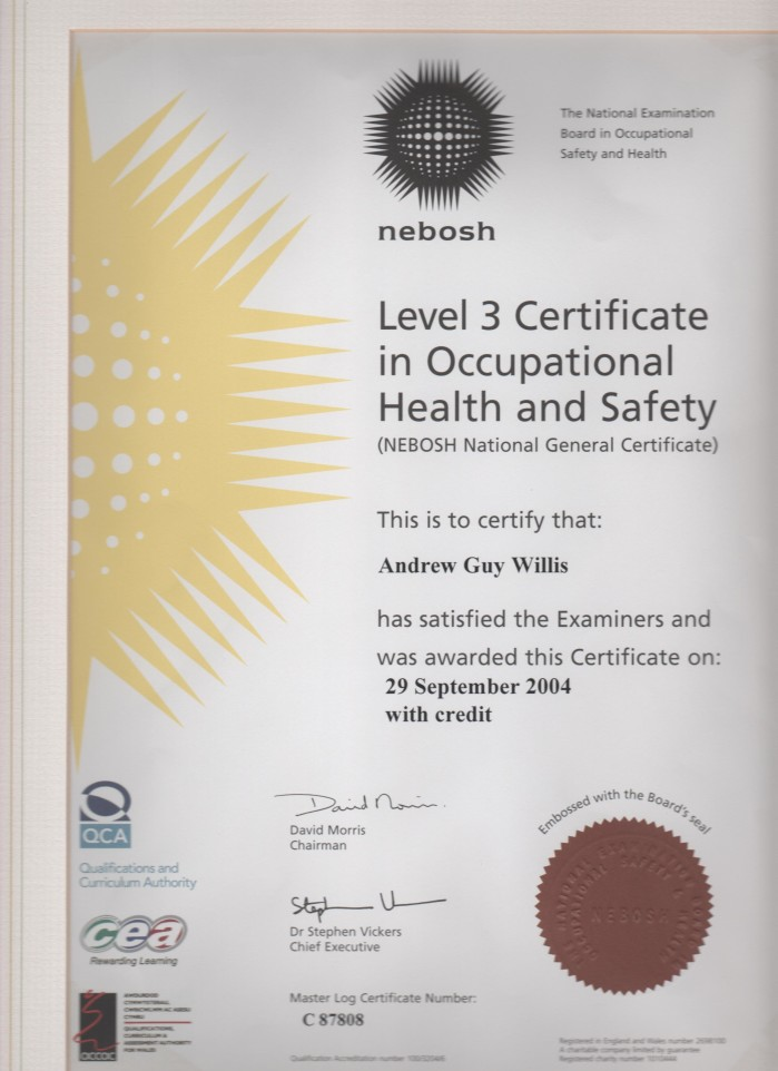 Clean 143 Nebosh Level 3 Certificate
