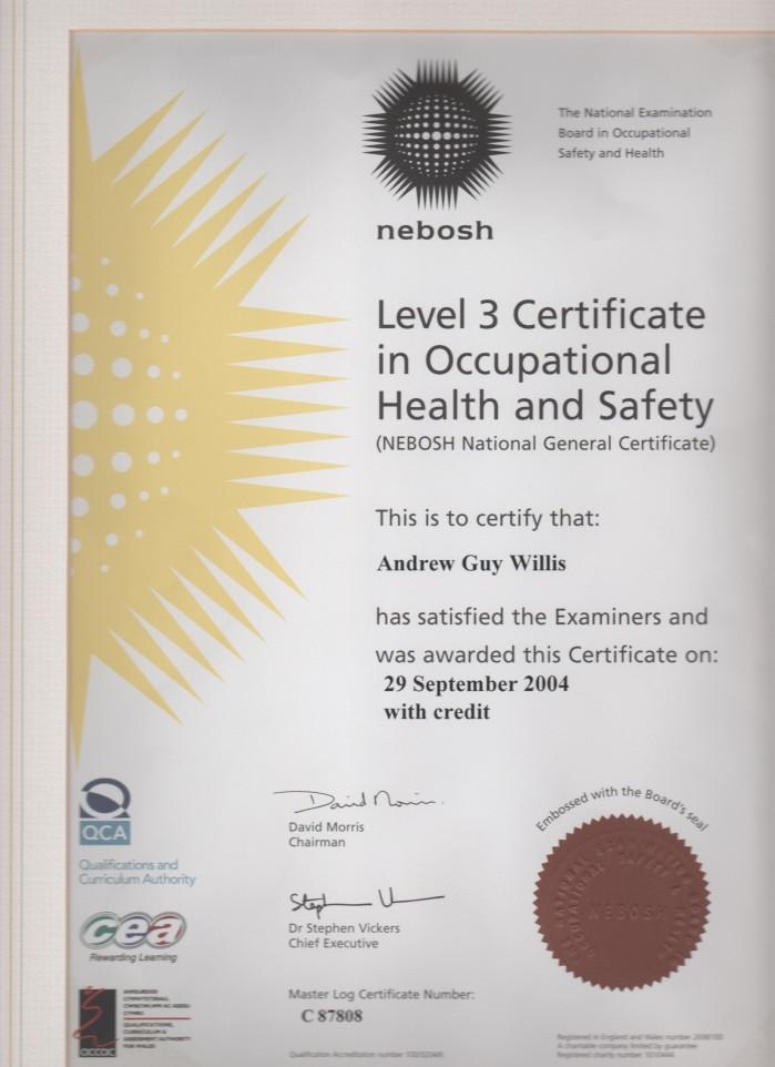 clean 143 nebosh level 3 certificate