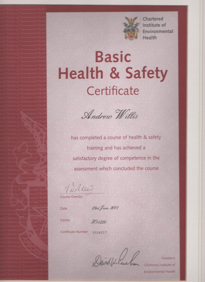 clean 143 cieh health and safety certificate