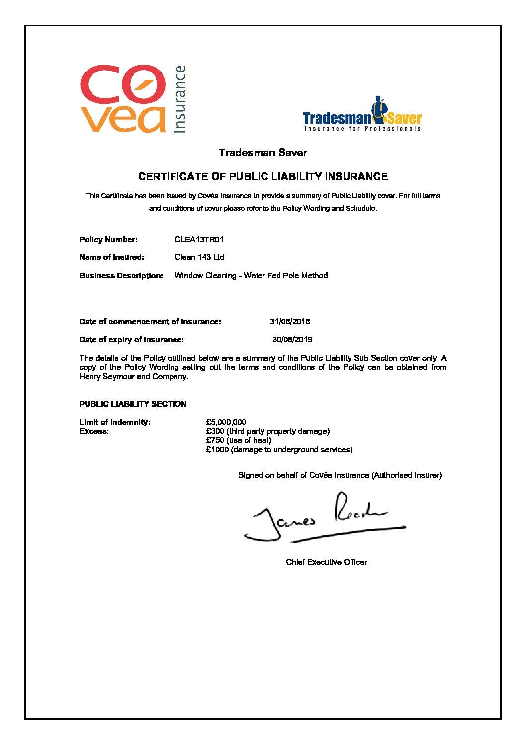 General Liability Certificate of Insurance - Clean143
